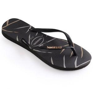 Havaianas Shoes - New Havaianas slim logo black metallic and silver